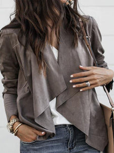 Fold Over Collar  Asymmetric Hem  Plain Jacket