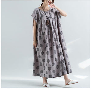 Casual Round Collar Polka Dot Printed Loose Maxi Dress