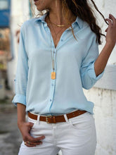 Load image into Gallery viewer, Turn Down Collar  Single Breasted  Plain  Blouses