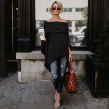 Load image into Gallery viewer, Off Shoulder  Asymmetric Hem  Plain Blouses