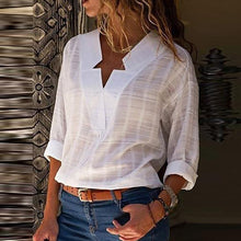 Load image into Gallery viewer, Sexy V Neck Pure Color Cotton Blouses Long Sleeve Shirt Tops Summer