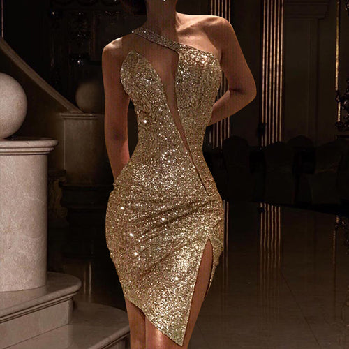 Split shoulder dress Party Evening Dresses