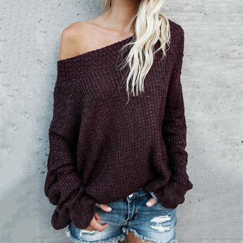 One Shoulder Two Way Off Shoulder Batwing Sleeve Knitting Sweaters