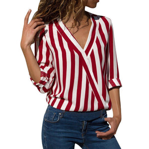 V Neck Stripes Printed Roll-Up Sleeves Casual Blouses