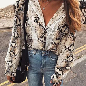 Sexy Deep V Neck Turn Down Collor Snake Printed Blouse