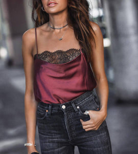 Sexy Lace Sling Sleeveless Satin Shirt