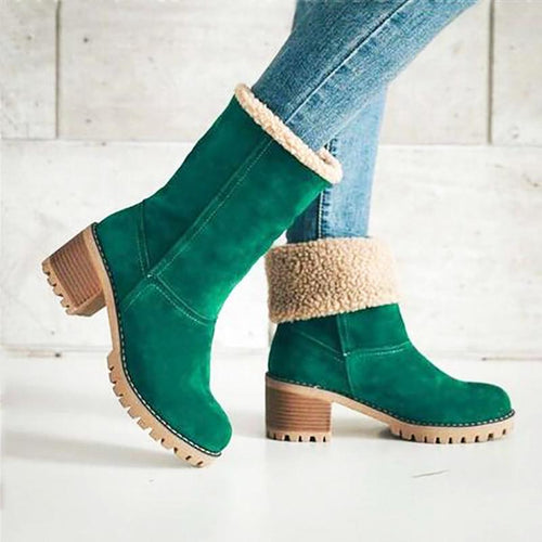 Fashion Round Head Coarse Heel Snow Boots