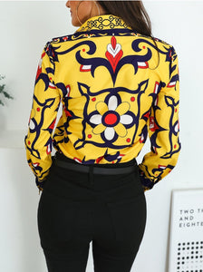 Fashion Printed Colour Slim Turndown Collar Shirt