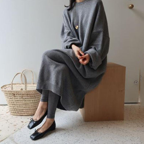 Loose Plain Thick Long Casual Dress