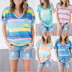 Loose Casual V-Neck Striped Print T-Shirt