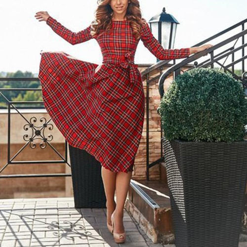 Long-Sleeved Red Plaid Slim Skater Dress