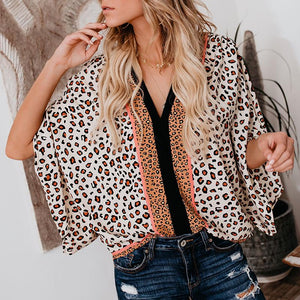 V Neck  Loose Fitting Patchwork  Leopard Patchwork  Blouses