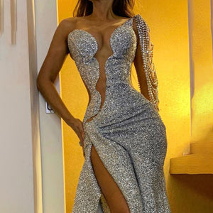 Side slit flash party dress dress Evening Dresses