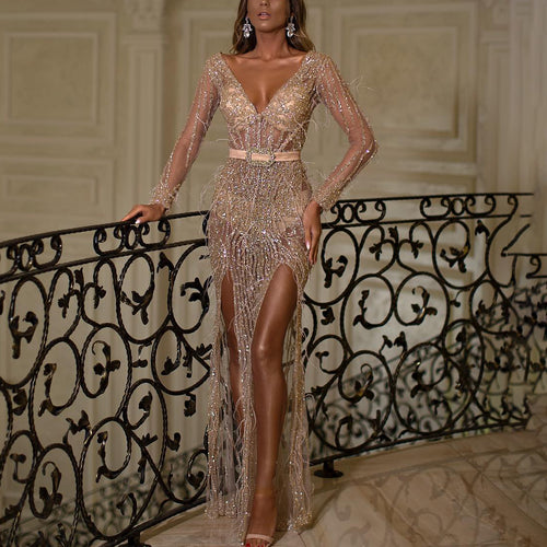 V-neck long sleeve party evening dress