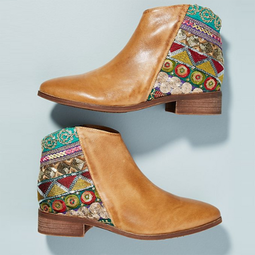 Vintage Classic Jacquard Stitching Ankle Boots