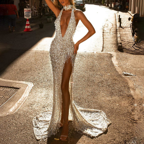 Halter deep V-neck sequin evening dress