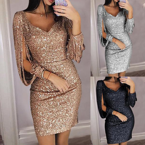Sexy Deep V Long Sleeve Slim Shiny Evening Dresses