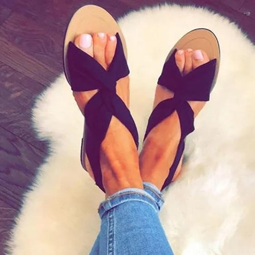 Bow-Tie Cross-Twisted Elastic Slinky Fashion Flat Sandals