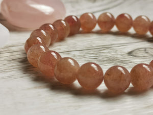Strawberry Quartz Gemstone Bracelet 8mm