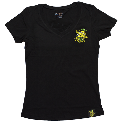 Lemon Life Ladies Lemon Splat V Neck  T Shirt