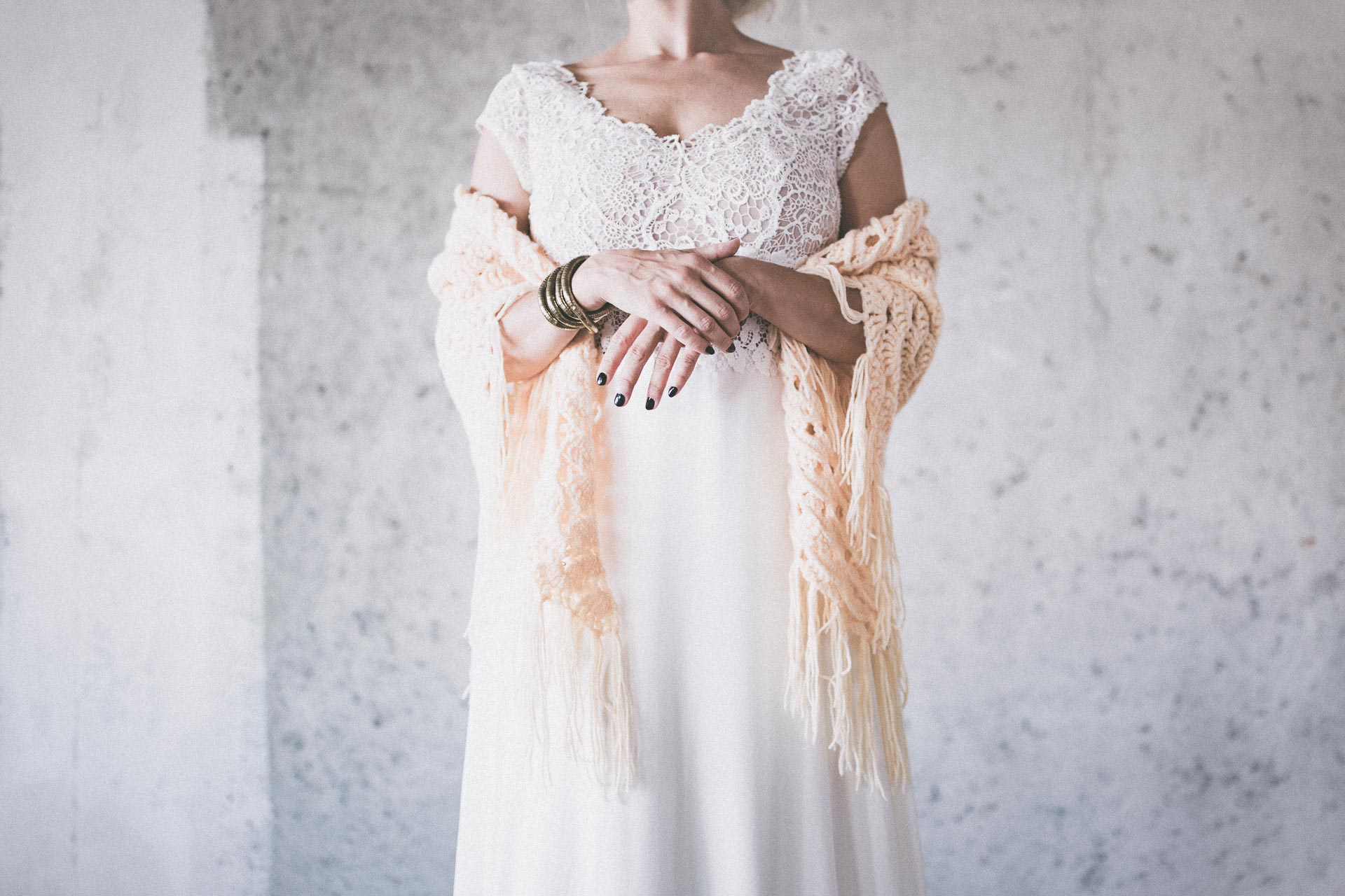BOHO CHIC BRIDAL STOLE faded yellow