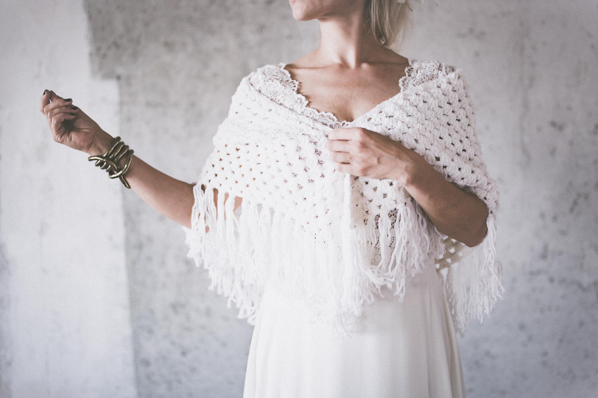 BOHO LUXURY BRIDAL STOLE pure white