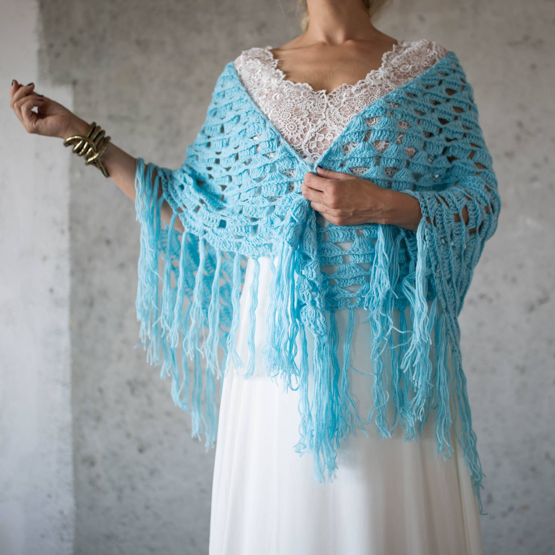 BOHO LUXURY BRIDAL STOLE aquamarin
