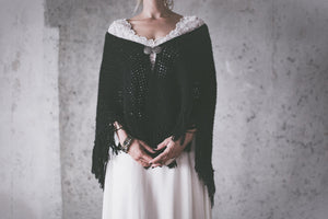 BOHO EXCLUSIVE BRIDAL CAPE black