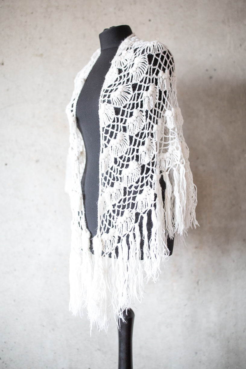 BOHO CHIC BRIDAL STOLE white and light