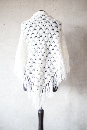 BOHO CHIC BRIDAL STOLE white peacock pattern