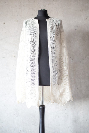 BOHO CHIC CARDIGAN CAPE creme white