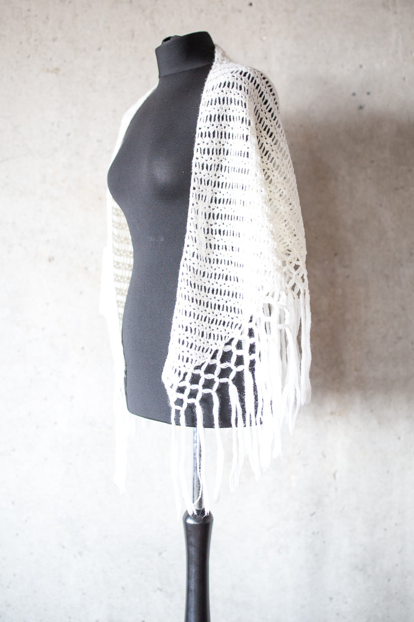 BOHO CHIC BRIDAL STOLE pure white