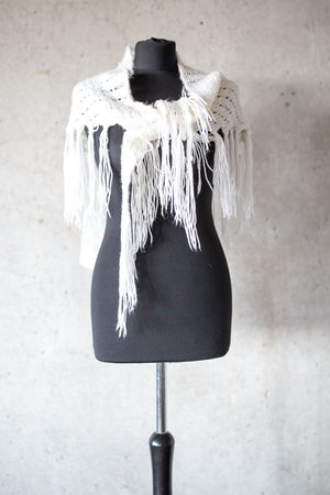 BOHO CHIC BRIDAL STOLE pure white fray