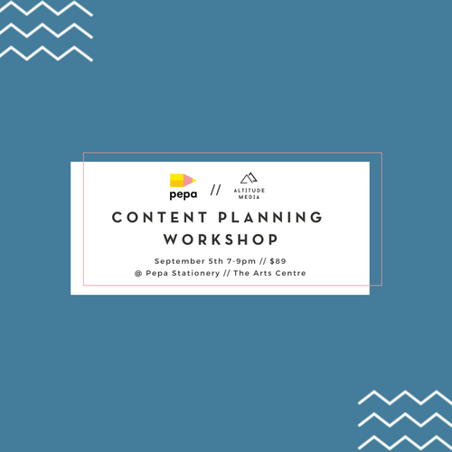 Graphic of Content Planning Workshop details for Altitude Media and Pepa Stationery