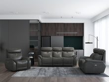 Load image into Gallery viewer, Echo Gray Leather Power Sofa w/Power Adjustable Headrests