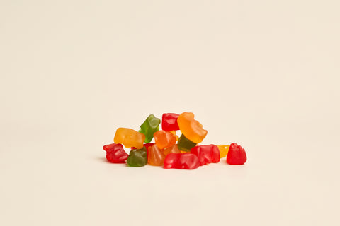 CBD gummy bears stacked on one another
