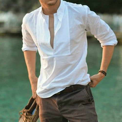 Casual V Collar Long Sleeves Plain Slim Shirt