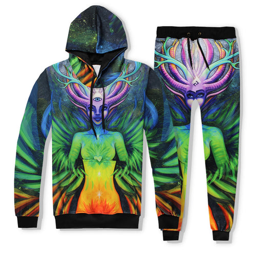 Fashion Deer Head Portrait Printed Hooded Sweater Trousers Jumpsuits
