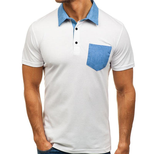 New In Patchwork Style Casual Polo