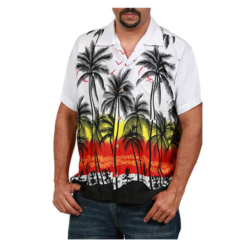 Hawaiian Style Beach Coconut Tree Printed Shirt