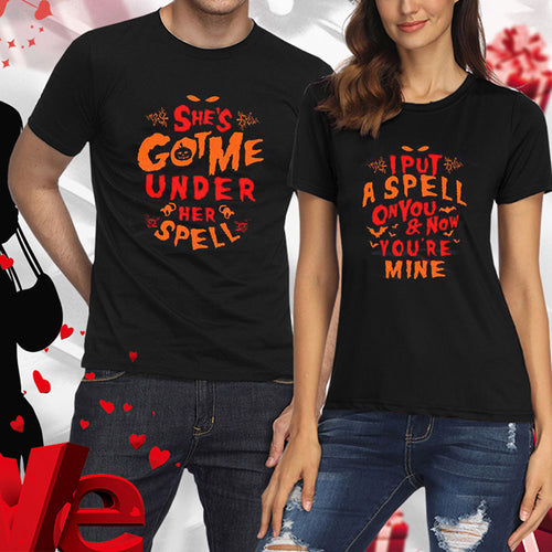 Casual Halloween Couple Short Sleeves T-shirts