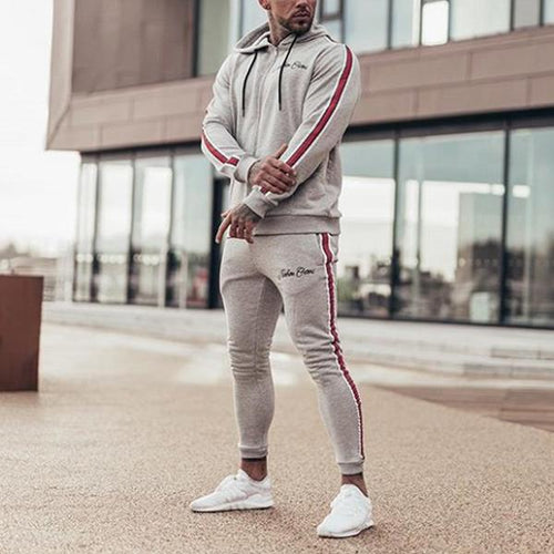 Men's Sports Casual Hooded Top And Pants Playsuits
