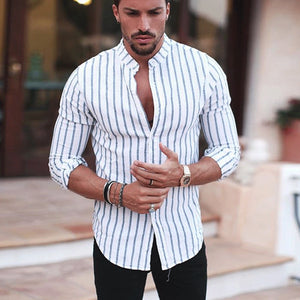 Casual V Collar Slim Long Sleeves Stripe Printed Shirt