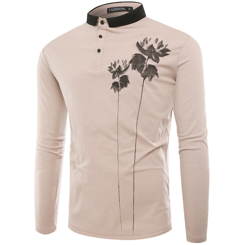 Fashion Floral Printed Polo Shirt