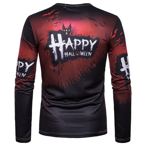 Halloween Print Crew Neck Long Sleeve T-Shirt