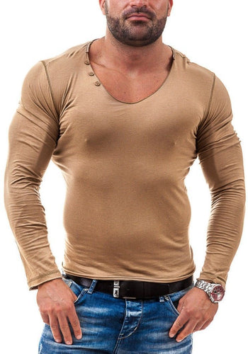 Fashion Mens Solid Color Slim Shirt