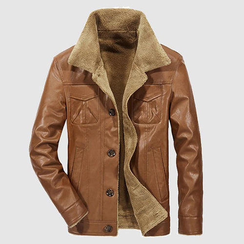 Mens Business Thick Warm Wide-Collared Leather Jacket