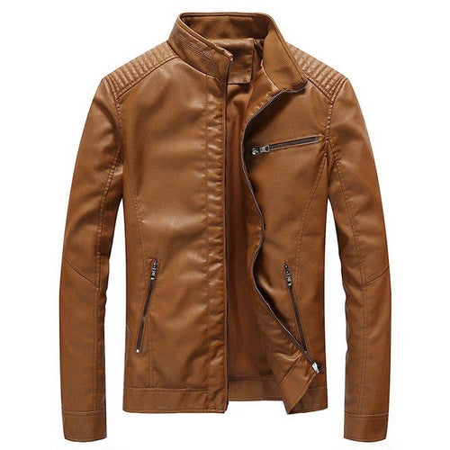 Men Plain Stand Collar Leather Jacket