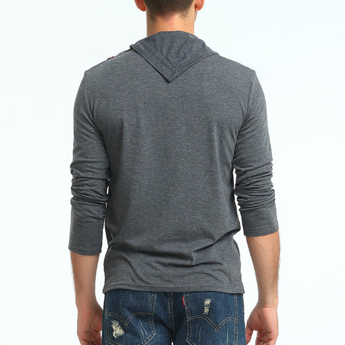 High Collar Horn Buckle Men's Long Sleeve T-Shirt