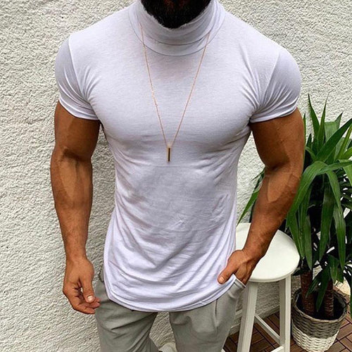 Solid   Color High Neck Short Sleeve Casual T-Shirt